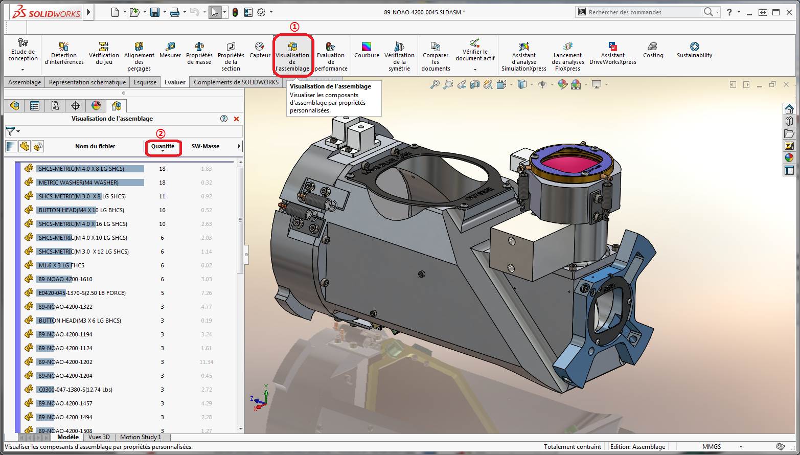 visualisation assemblage solidworks