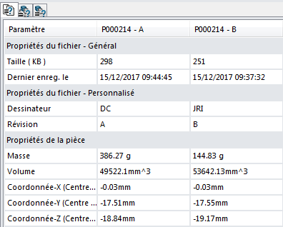 Comparer 2 fichiers SOLIDWORKS